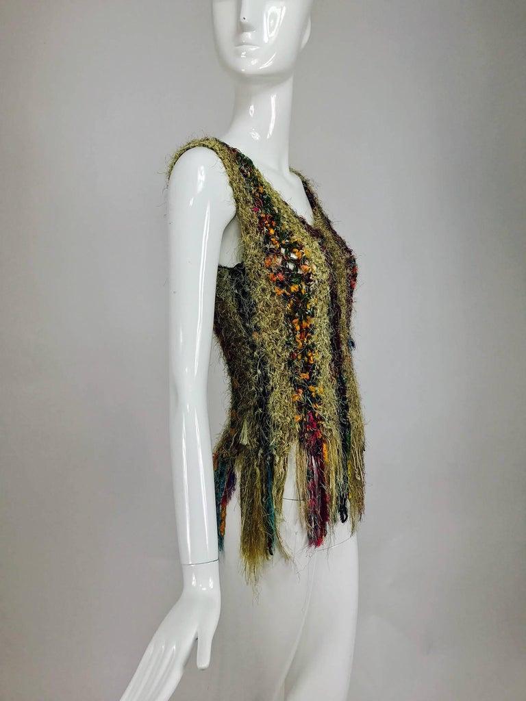 Vintage art to wear silk woven fringe top  3