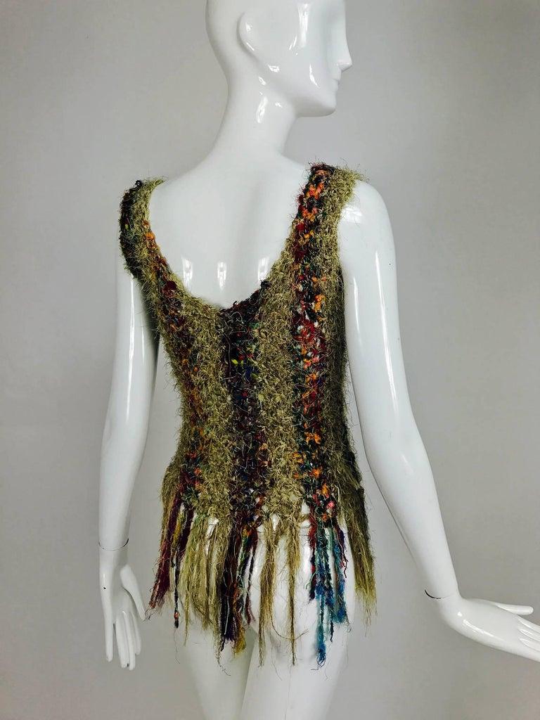 Vintage art to wear silk woven fringe top  5