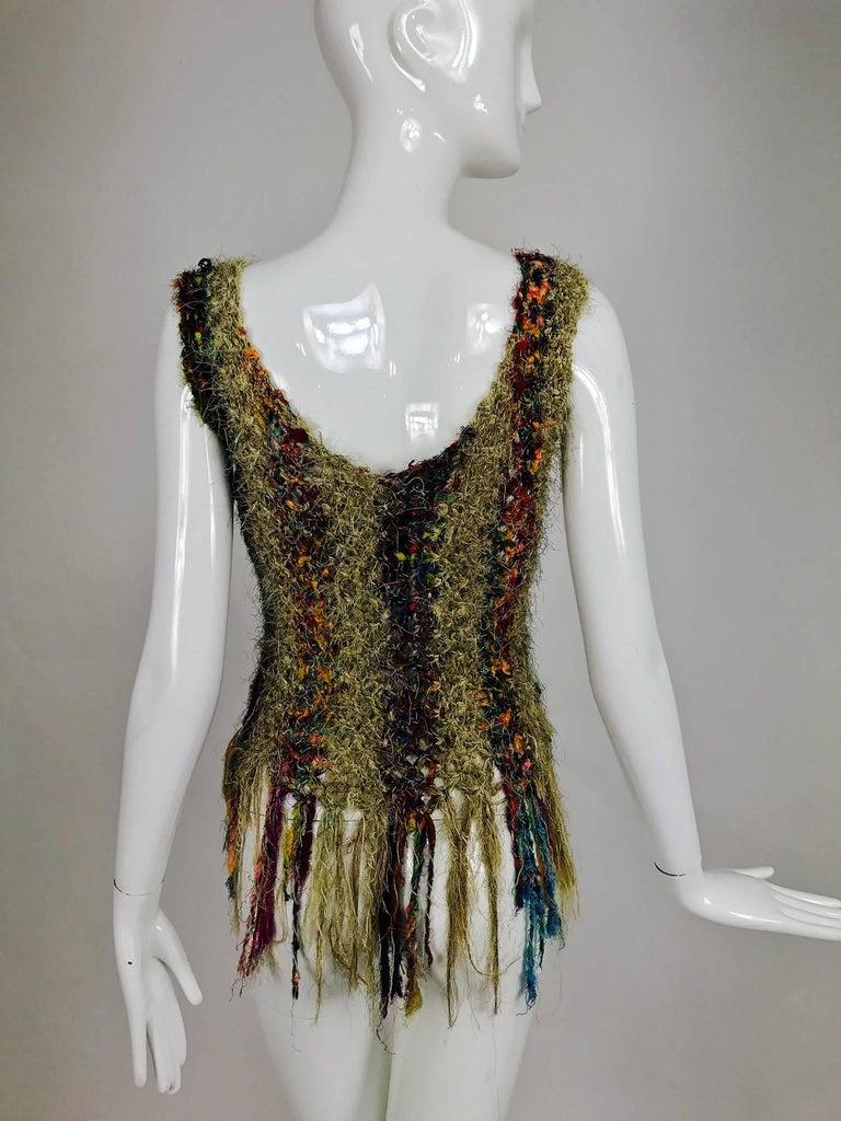 Vintage art to wear silk woven fringe top  6