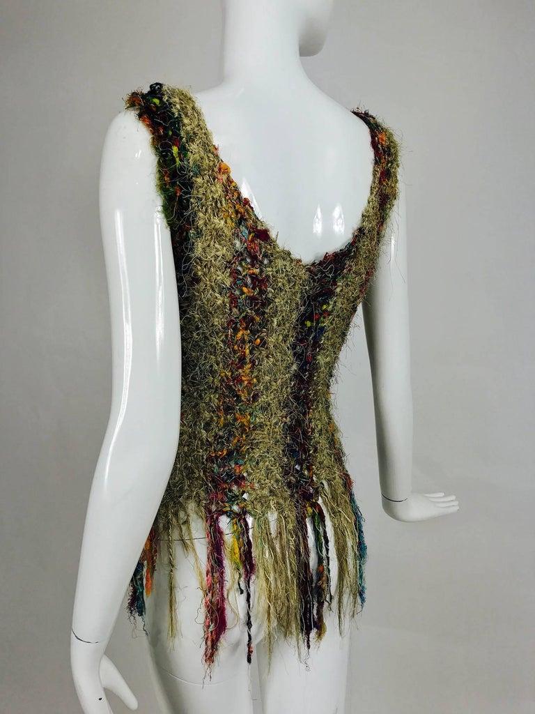 Vintage art to wear silk woven fringe top  7