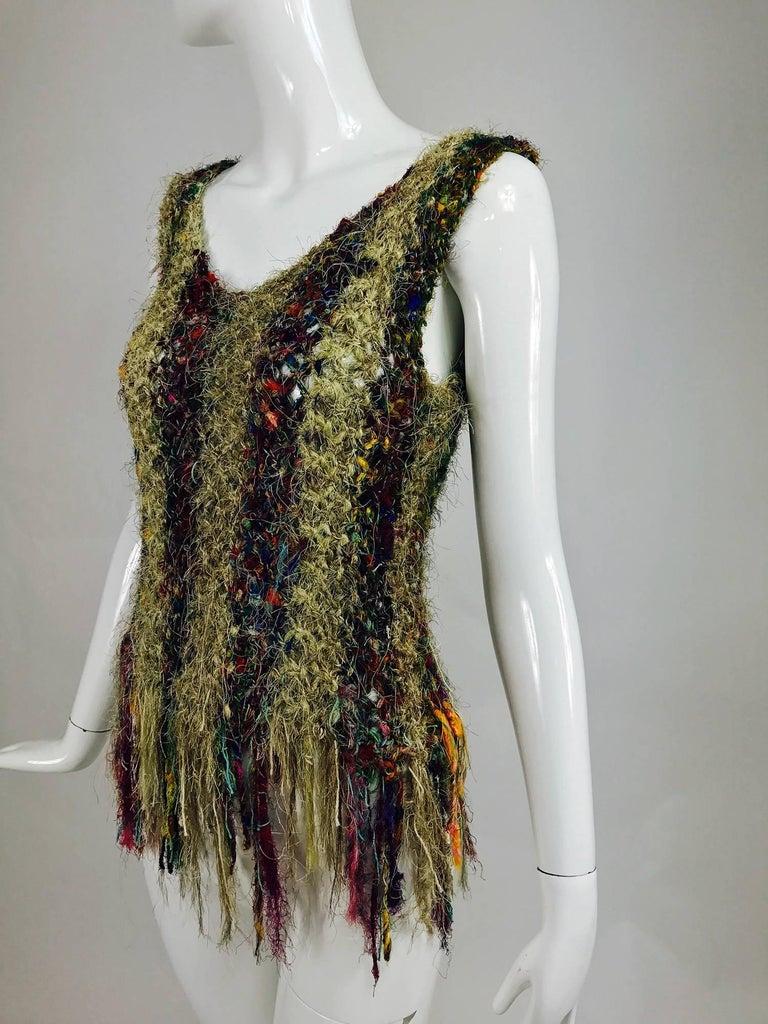 Vintage art to wear silk woven fringe top  8