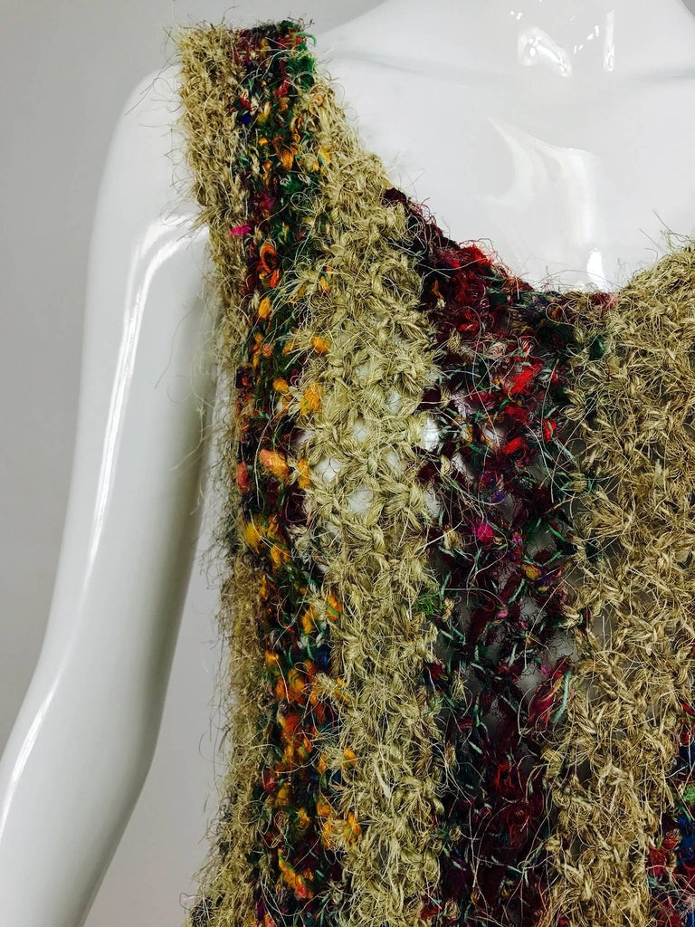 Vintage art to wear silk woven fringe top  9