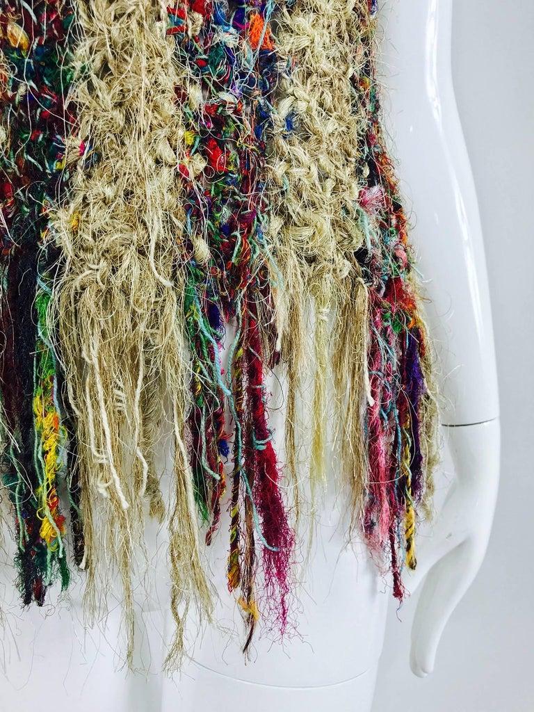 Vintage art to wear silk woven fringe top  10