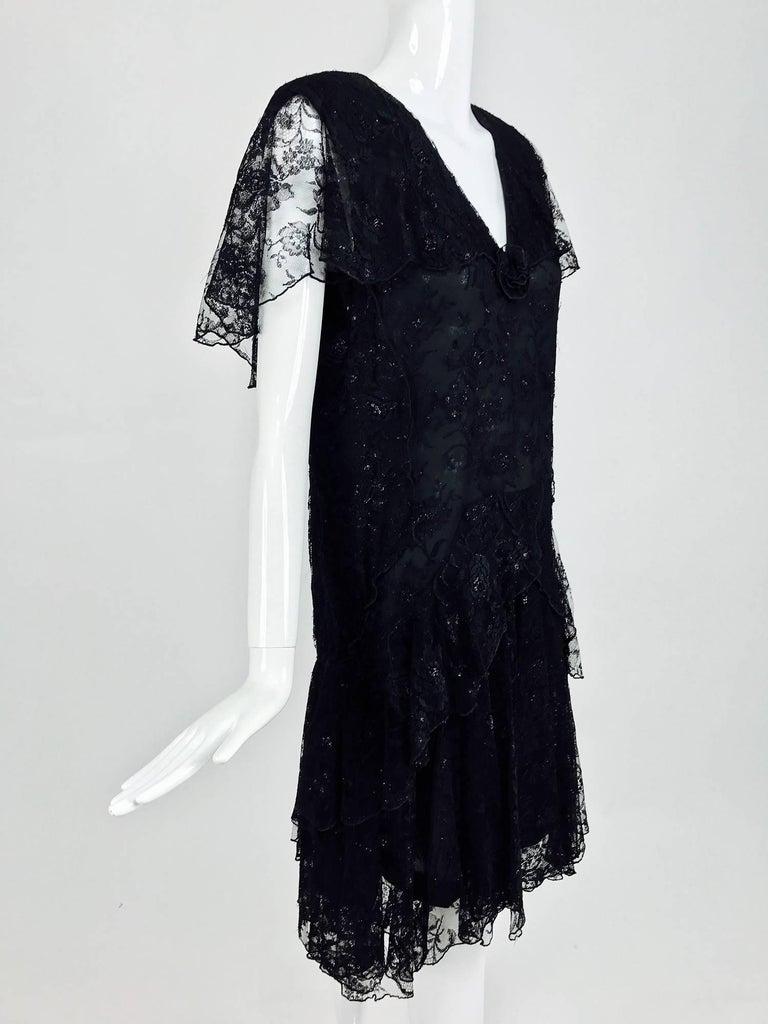Vintage Holly Harp black lace cape back dress 1980s 2