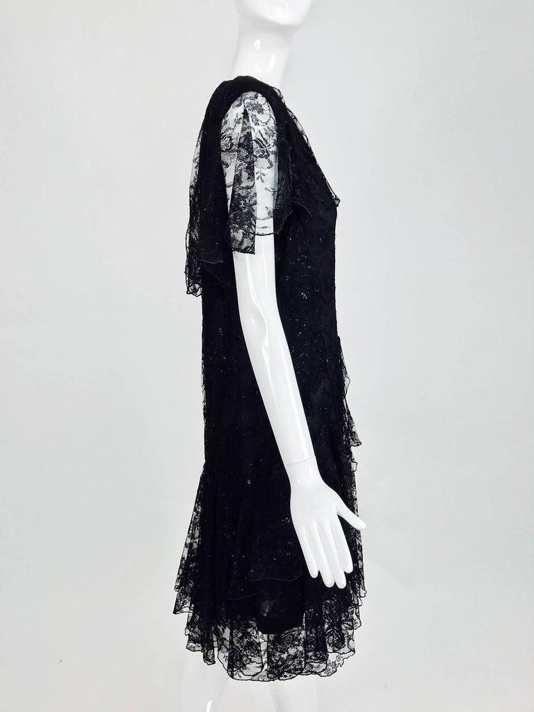 Vintage Holly Harp black lace cape back dress 1980s 3