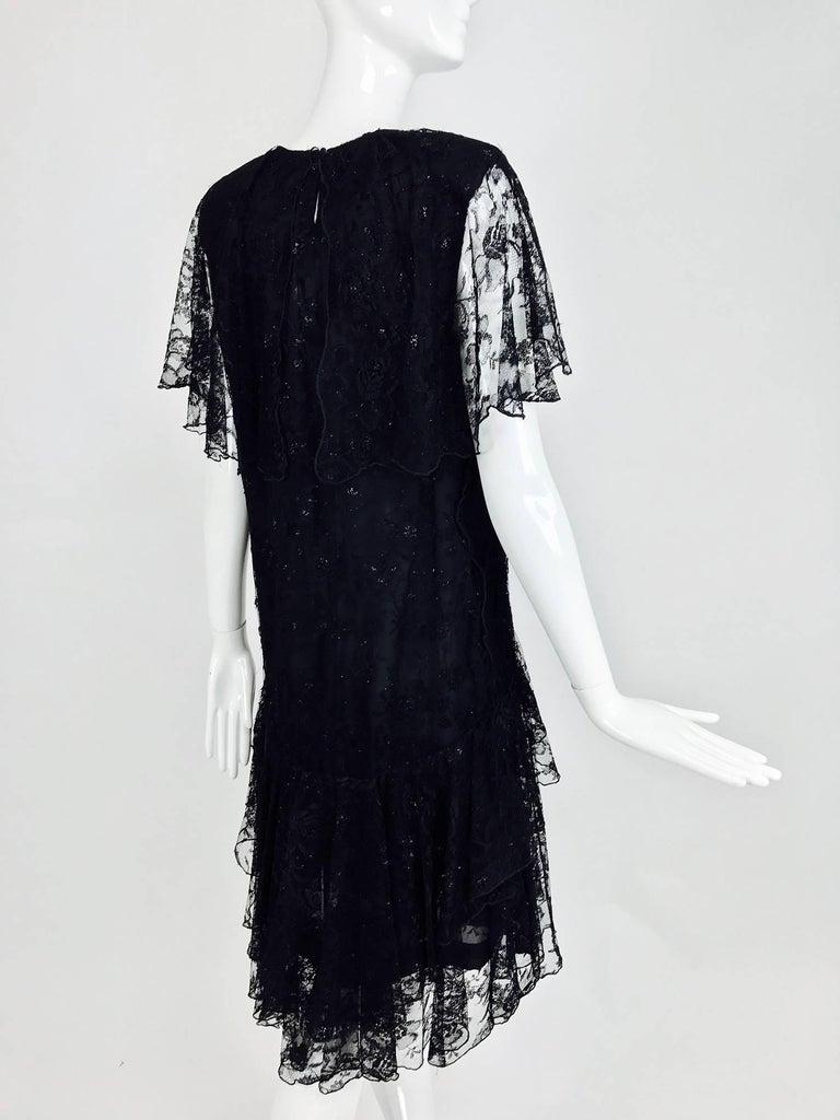 Vintage Holly Harp black lace cape back dress 1980s 4