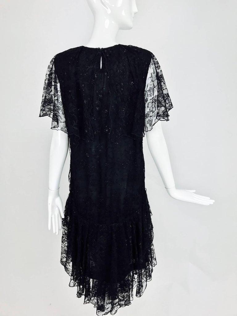 Vintage Holly Harp black lace cape back dress 1980s 5