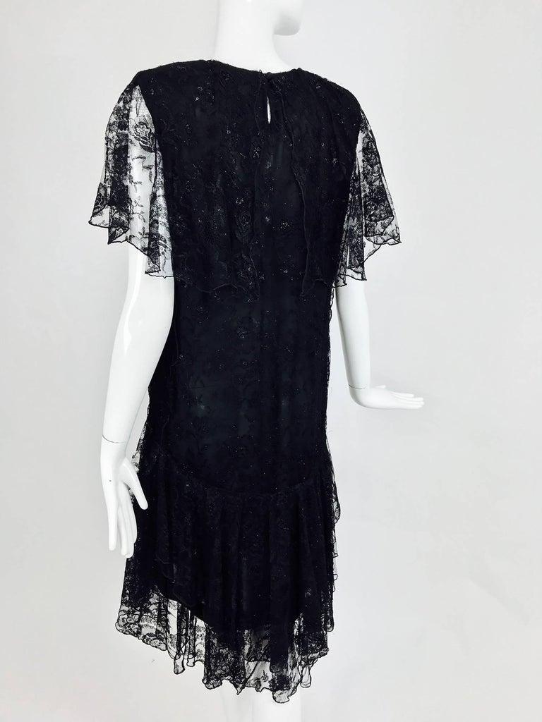 Vintage Holly Harp black lace cape back dress 1980s 6
