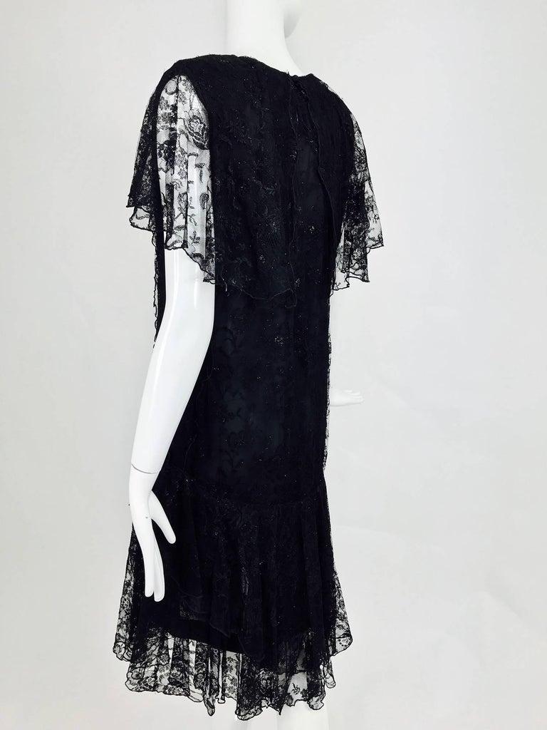 Vintage Holly Harp black lace cape back dress 1980s 7