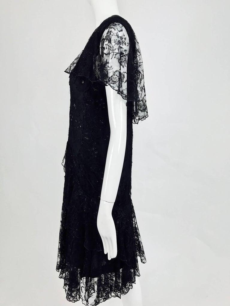 Vintage Holly Harp black lace cape back dress 1980s 8