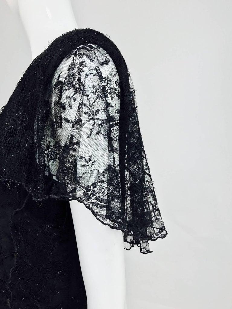Vintage Holly Harp black lace cape back dress 1980s 9