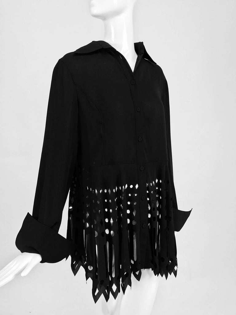 Gianfranco Ferre black crepe laser cut long sleeve button front top 4