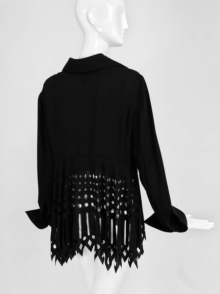 Gianfranco Ferre black crepe laser cut long sleeve button front top 5