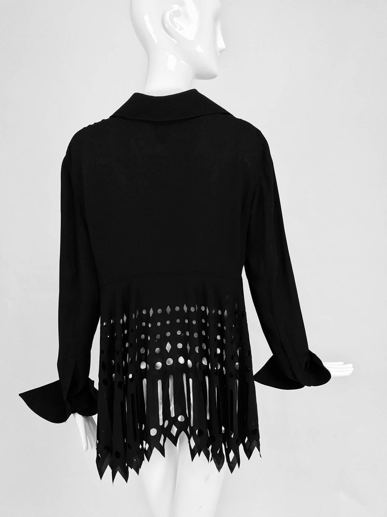 Gianfranco Ferre black crepe laser cut long sleeve button front top 6