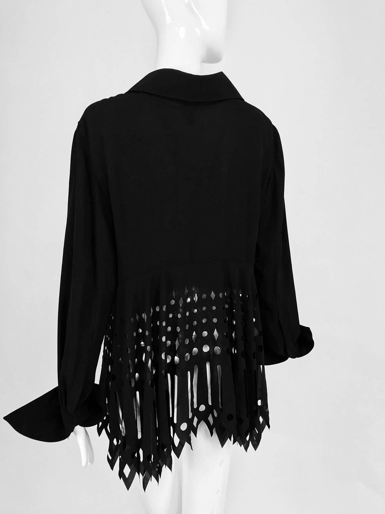 Gianfranco Ferre black crepe laser cut long sleeve button front top 7