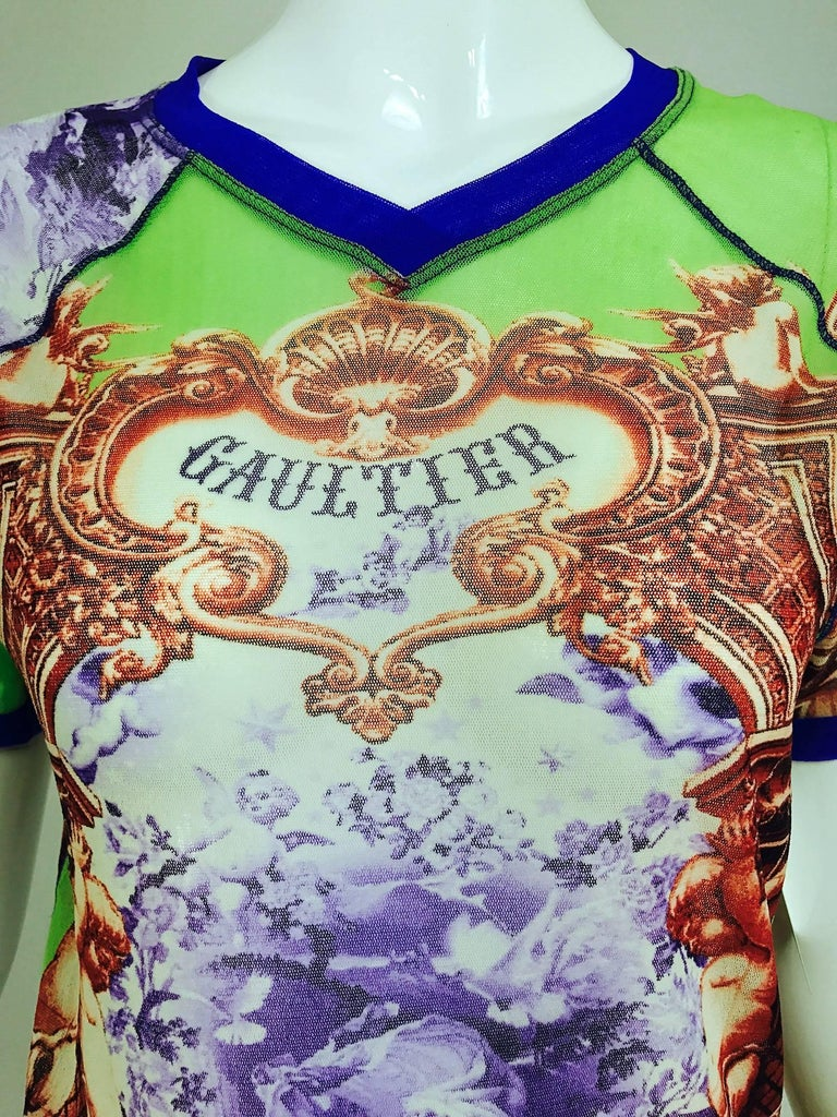 Jean Paul Gaultier Short sleeve mesh printed top Adam and Eve 2