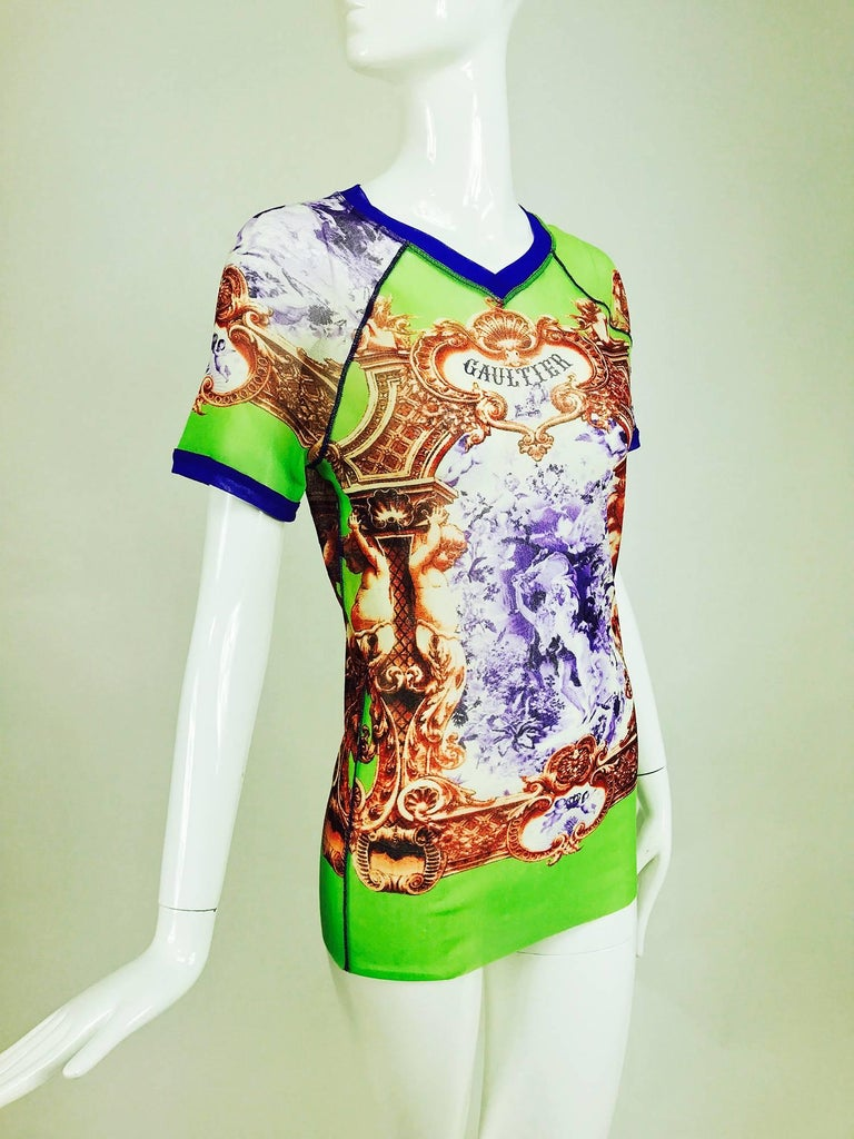 Jean Paul Gaultier Short sleeve mesh printed top Adam and Eve 4