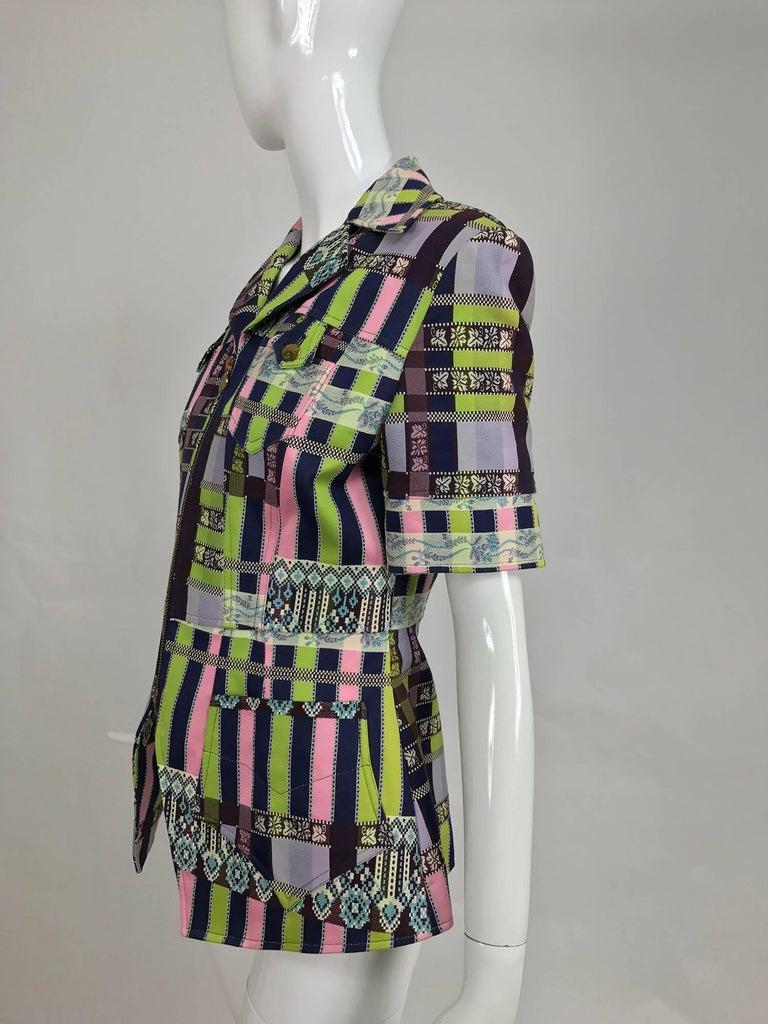 Black Christian LaCroix Bazar zipper front Short sleeve jacket 1980s For Sale