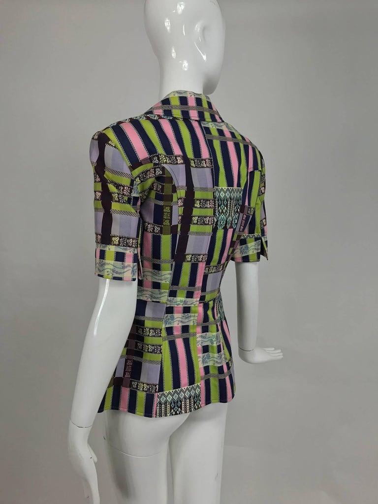 Women's Christian LaCroix Bazar zipper front Short sleeve jacket 1980s For Sale
