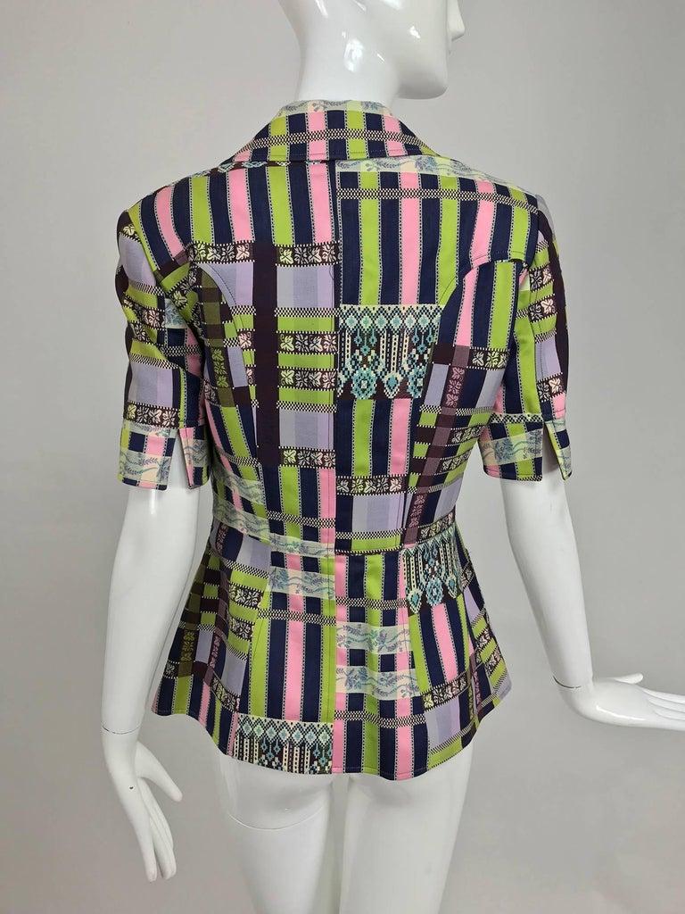 Christian LaCroix Bazar zipper front Short sleeve jacket 1980s For Sale 1