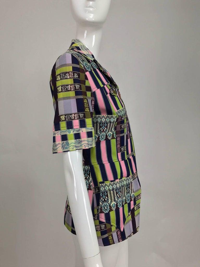 Christian LaCroix Bazar zipper front Short sleeve jacket 1980s For Sale 3