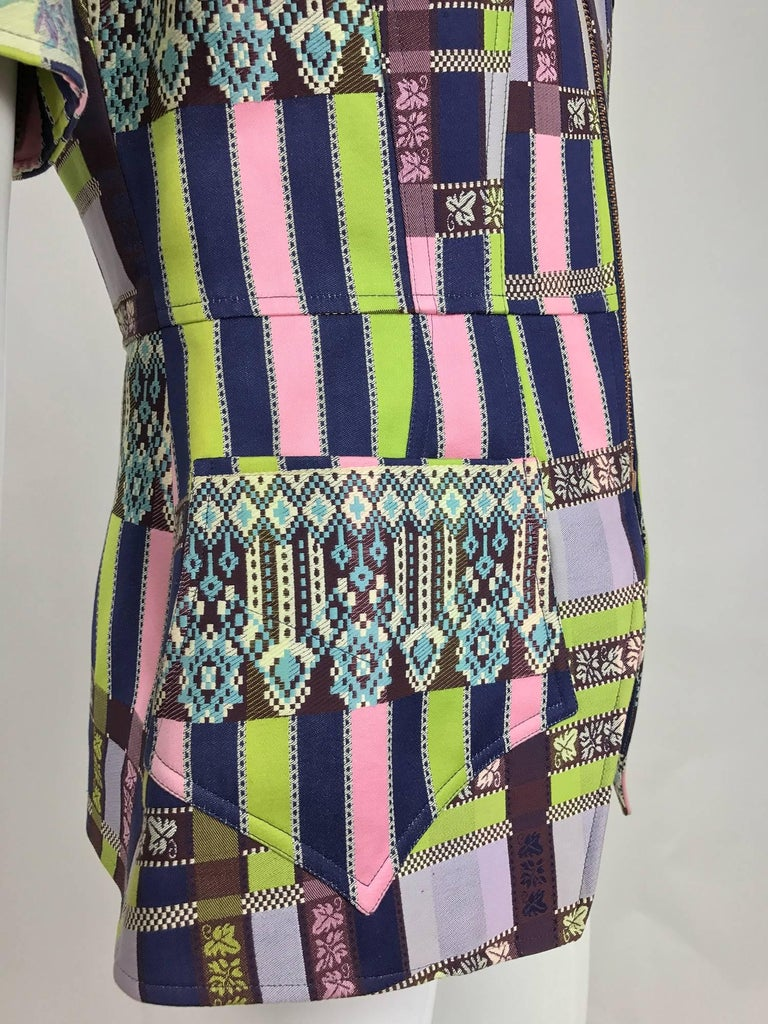 Christian LaCroix Bazar zipper front Short sleeve jacket 1980s For Sale 4