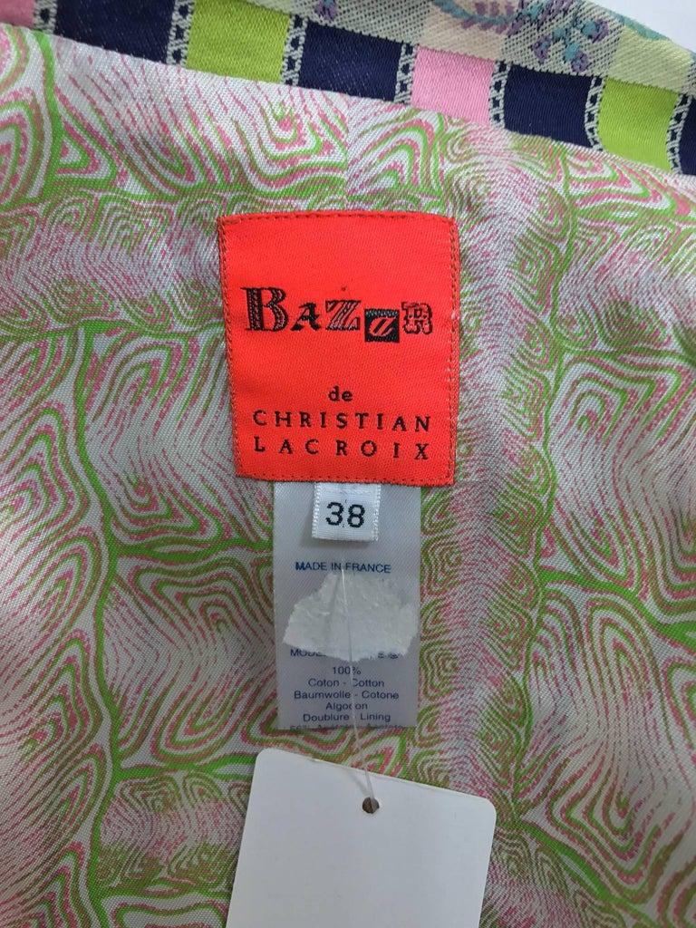 Christian LaCroix Bazar zipper front Short sleeve jacket 1980s For Sale 5