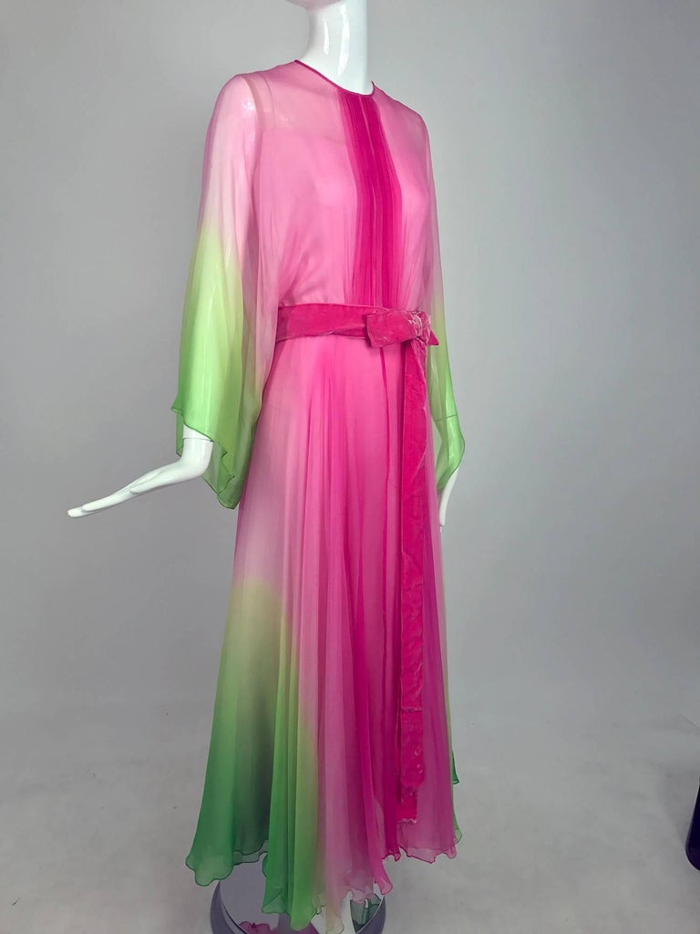 1970s hot pink and lime green ombred silk chiffon kimono sleeve maxi dress from the 1970s...The colour combination of this dress is so beautiful...I love the drape of the fabric and the wide kimono sleeves...Jewel neckline dress has vertical pleats