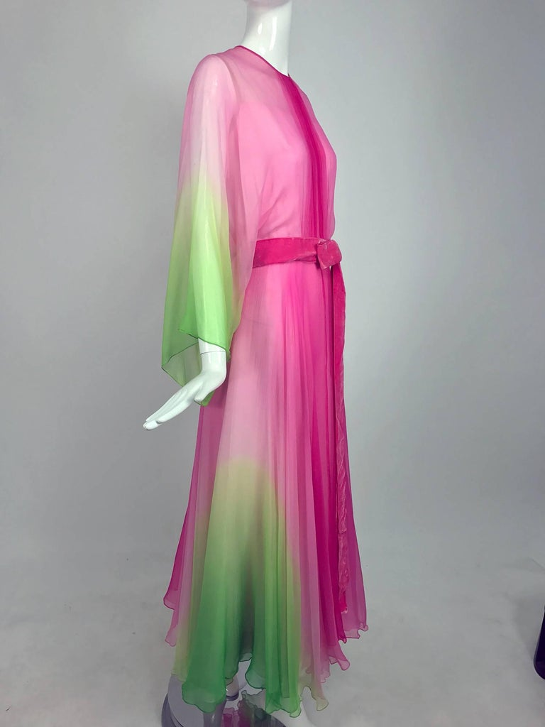 Pink Vintage pink and green ombred silk chiffon kimono sleeve maxi dress 1970s For Sale