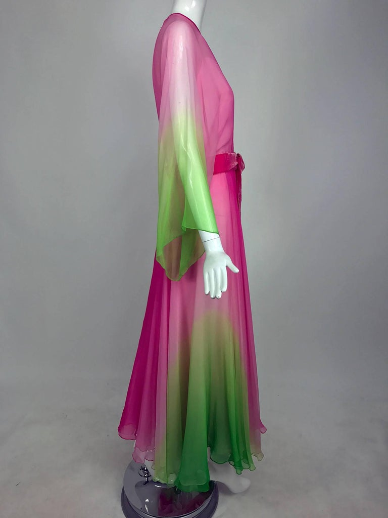 Vintage pink and green ombred silk chiffon kimono sleeve maxi dress 1970s 4