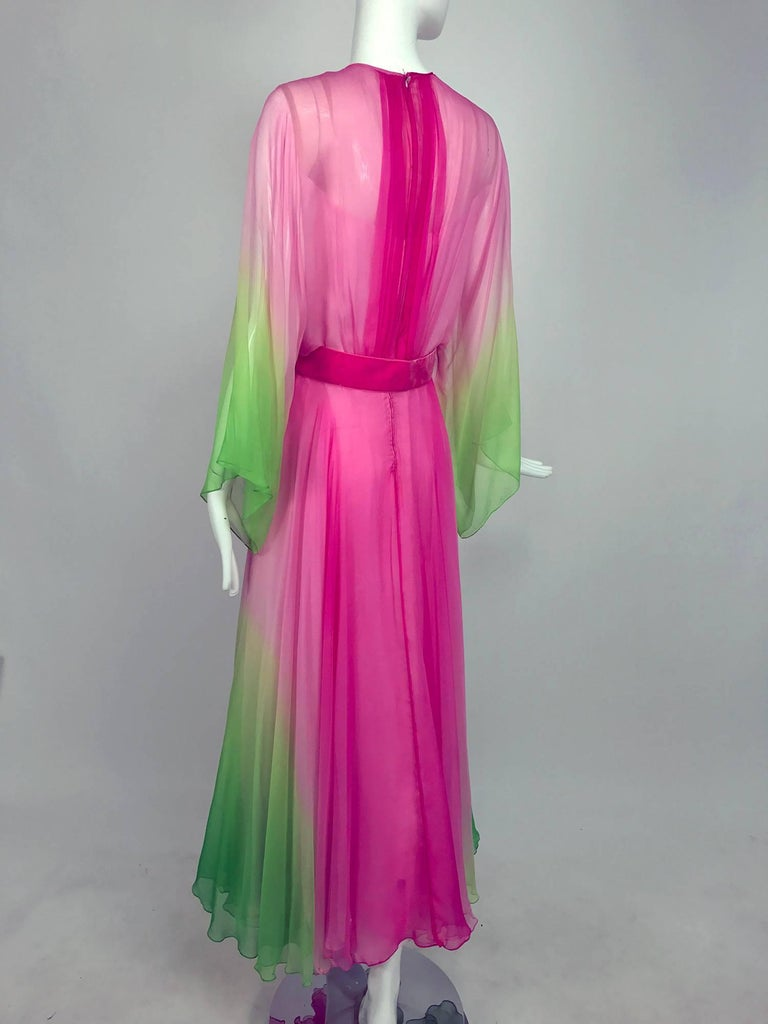 Vintage pink and green ombred silk chiffon kimono sleeve maxi dress 1970s For Sale 2