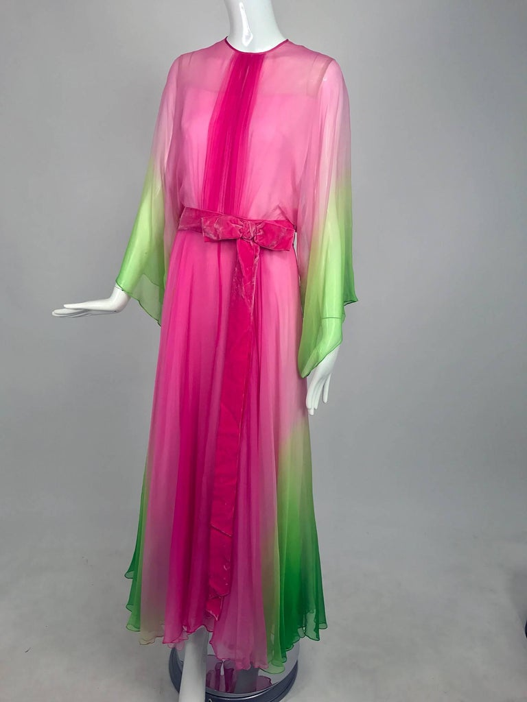 Vintage pink and green ombred silk chiffon kimono sleeve maxi dress 1970s 9