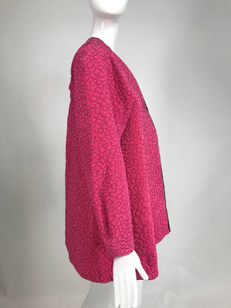 Pink Zandra Rhodes 1980s hot pink squiggle quilted swing jacket  For Sale