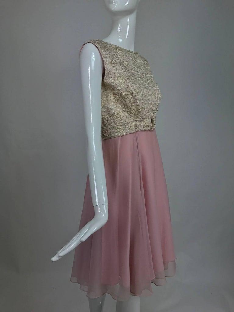 Vintage pink chiffon and gold metallic brocade cocktail dress 1960s ...