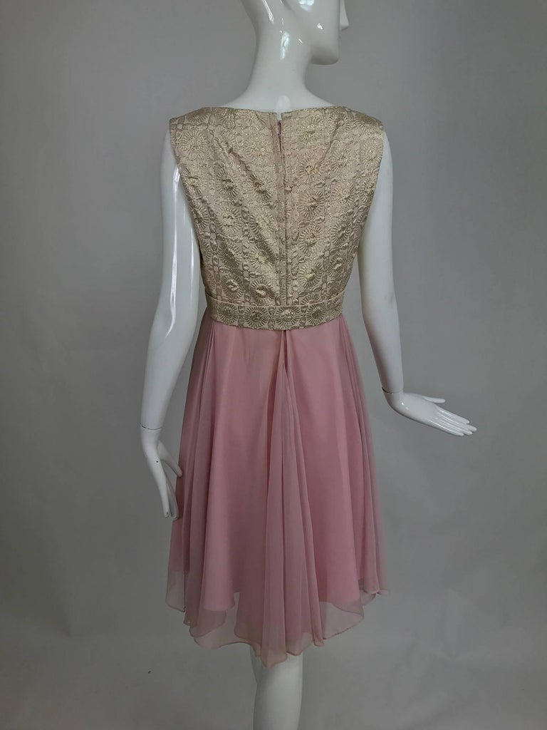 Vintage Pink Chiffon And Gold Metallic Brocade Cocktail