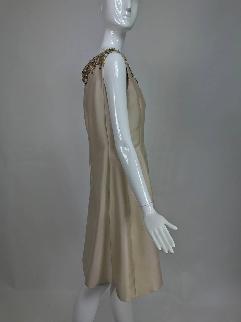 Vintage Malcolm Starr jeweled V neck lustrous cream silk dress 1960s For Sale 2
