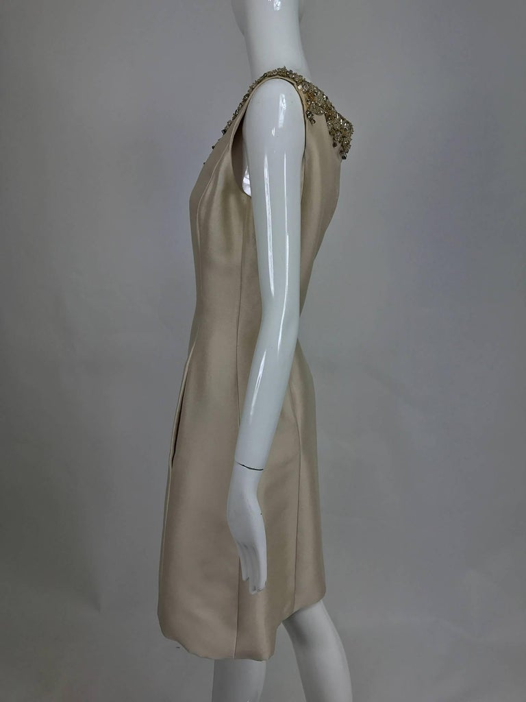 Gray Vintage Malcolm Starr jeweled V neck lustrous cream silk dress 1960s For Sale