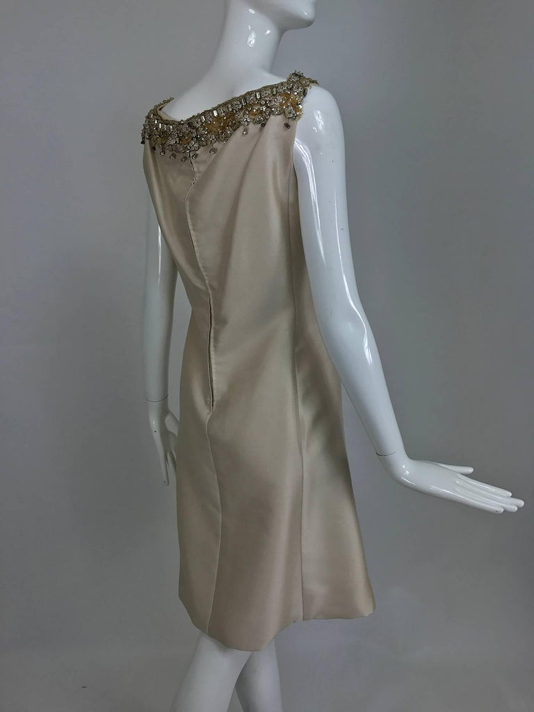 Vintage Malcolm Starr jeweled V neck lustrous cream silk dress 1960s For Sale 1