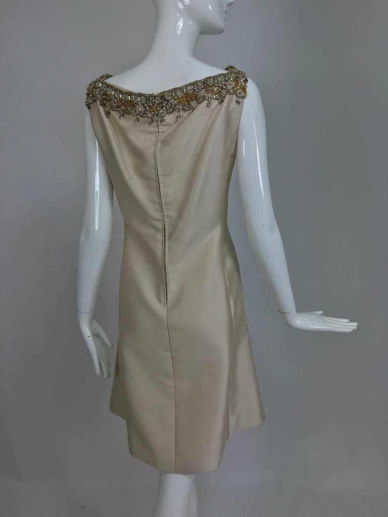 Vintage Malcolm Starr jeweled V neck lustrous cream silk dress 1960s For Sale 3
