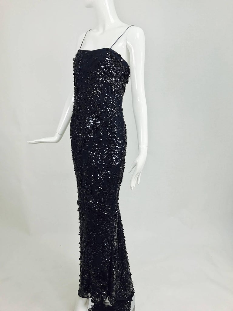 Pamela Dennis Couture dark blue sequined trained gown 2