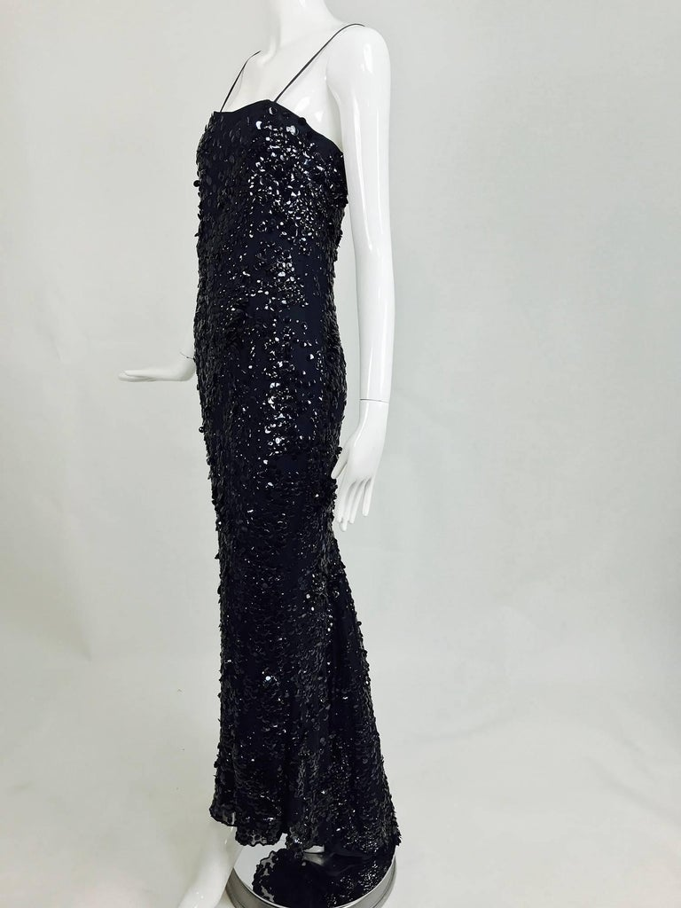 Pamela Dennis Couture dark blue sequined trained gown 3