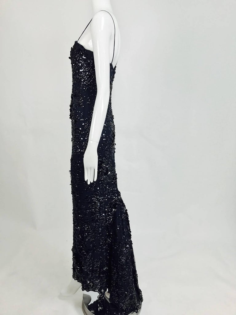 Pamela Dennis Couture dark blue sequined trained gown 4