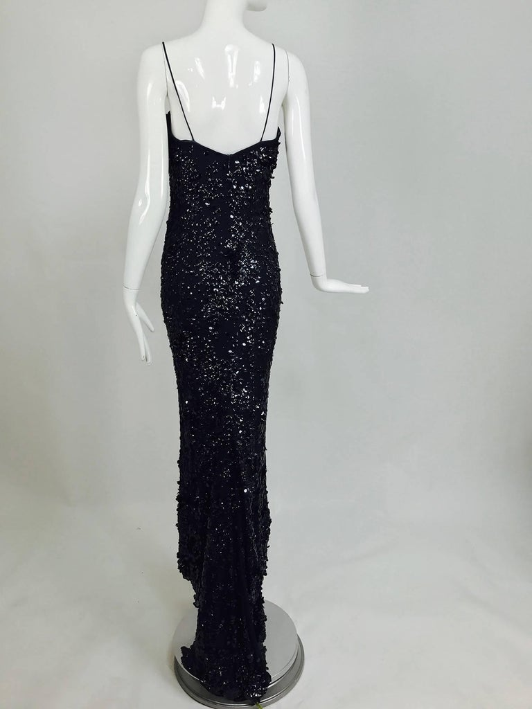 Pamela Dennis Couture dark blue sequined trained gown 6
