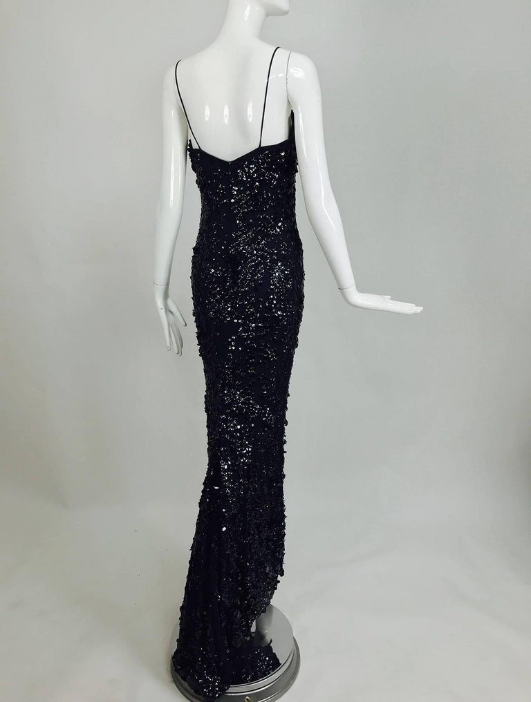 Pamela Dennis Couture dark blue sequined trained gown 7