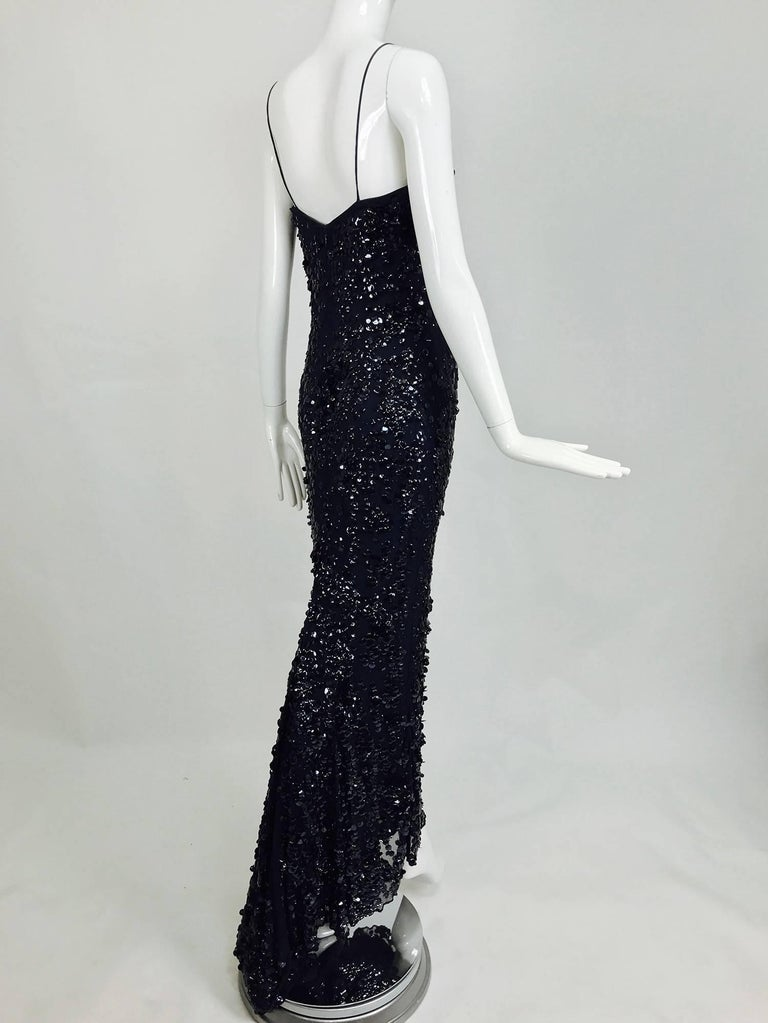 Pamela Dennis Couture dark blue sequined trained gown 8