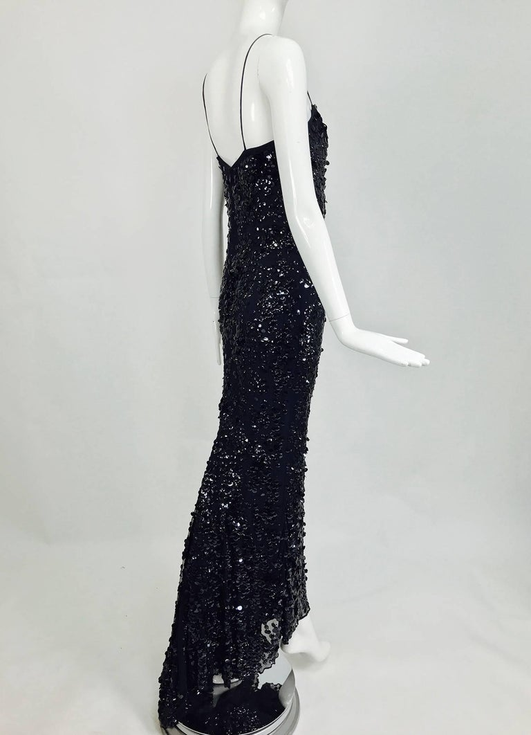 Pamela Dennis Couture dark blue sequined trained gown 9