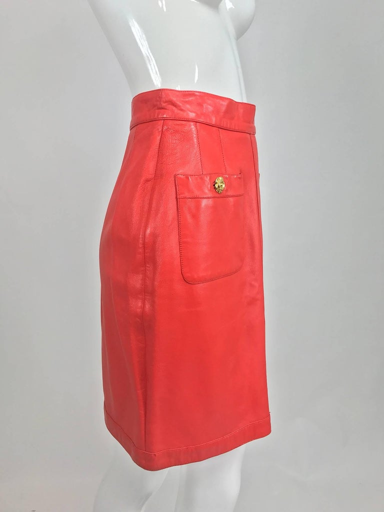 Red Chanel Vintage 1990s coral red leather skirt with pockets For Sale