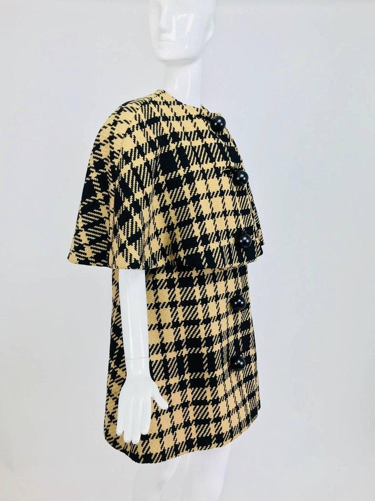 Rudi Gernreich vintage 1960s mod black and tan wool plaid mini cape tent coat 3