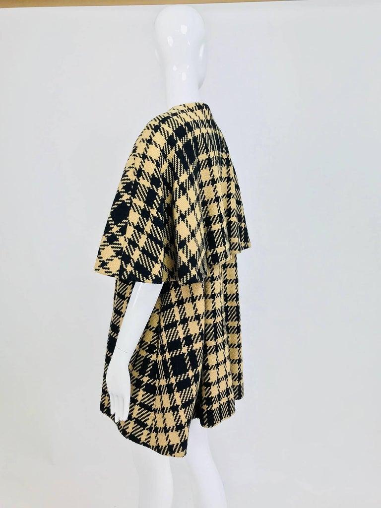 Rudi Gernreich vintage 1960s mod black and tan wool plaid mini cape tent coat 7