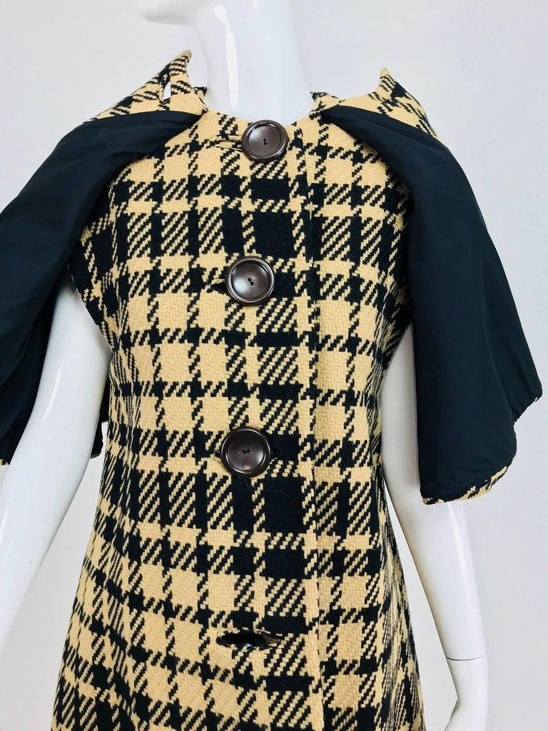 Rudi Gernreich vintage 1960s mod black and tan wool plaid mini cape tent coat 9